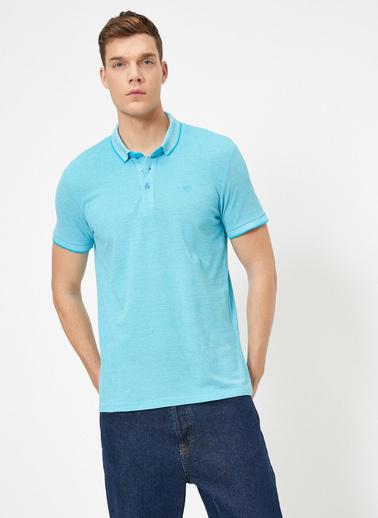 Koton Polo Yaka Isleme Detayli Desenli Kumas Slim Fit T-Shirt Mavi